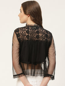 Black Self Design Net Semi-Sheer Mandarin Collar Crop Top