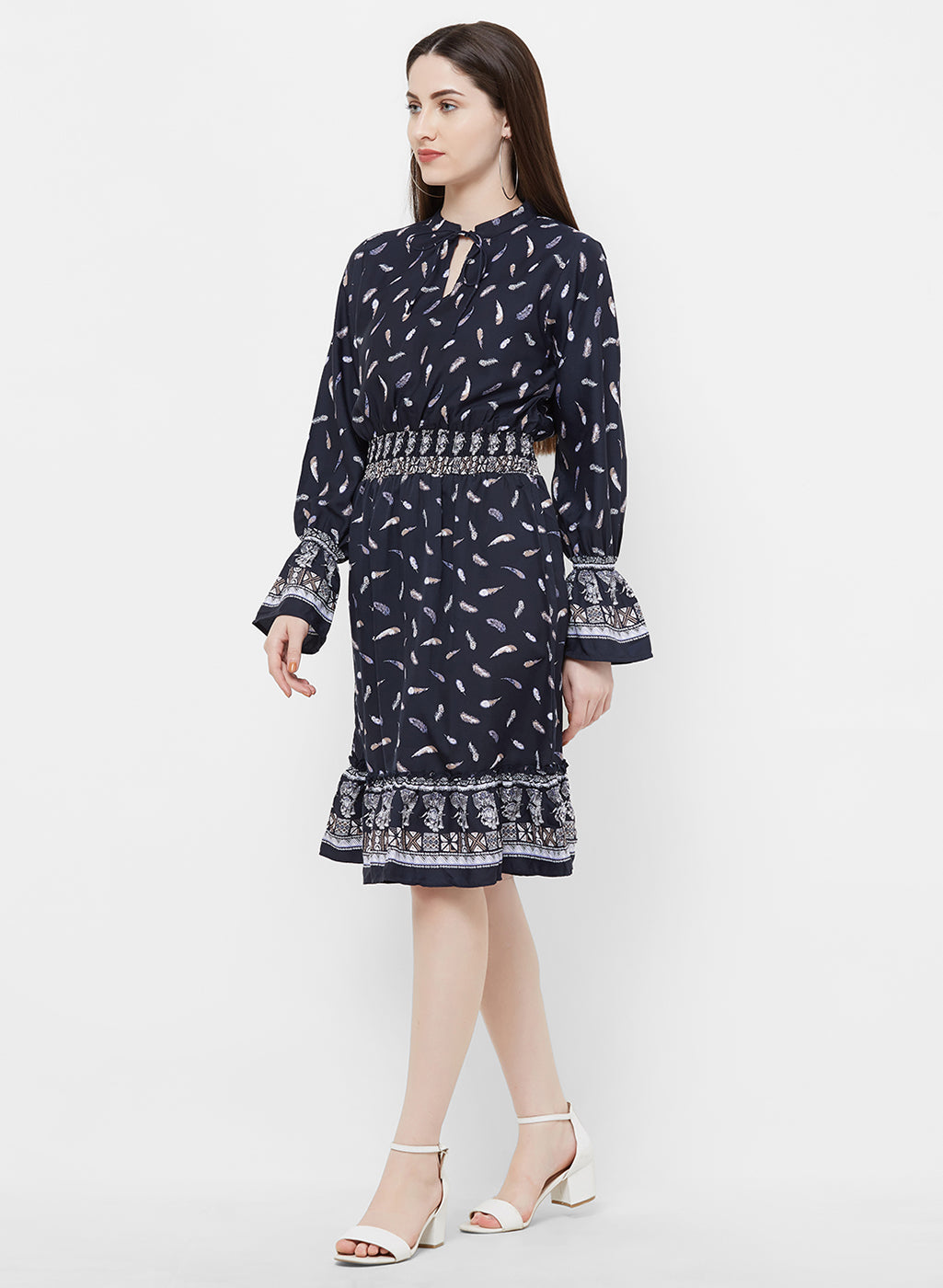 Rue Collection Tie-Up Front printed A-Line Dress