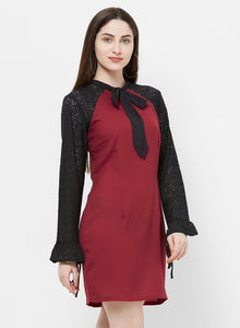 Rue Collection Tie Up Neck Lace Panel Sheath Dress