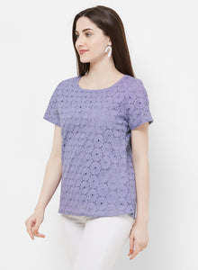 Rue Collection Round Neck Laced Top