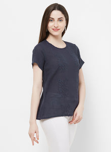 Round Neck Embroidered Top