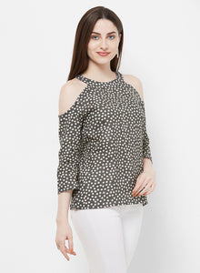 Rue Collection Cold Shoulder Printed Top