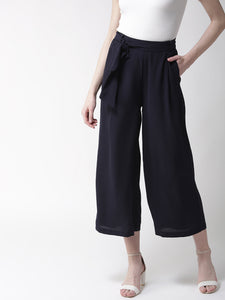 Women Navy Blue Loose Fit Solid Regular Trousers