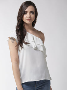 Women White Solid One Shoulder Top