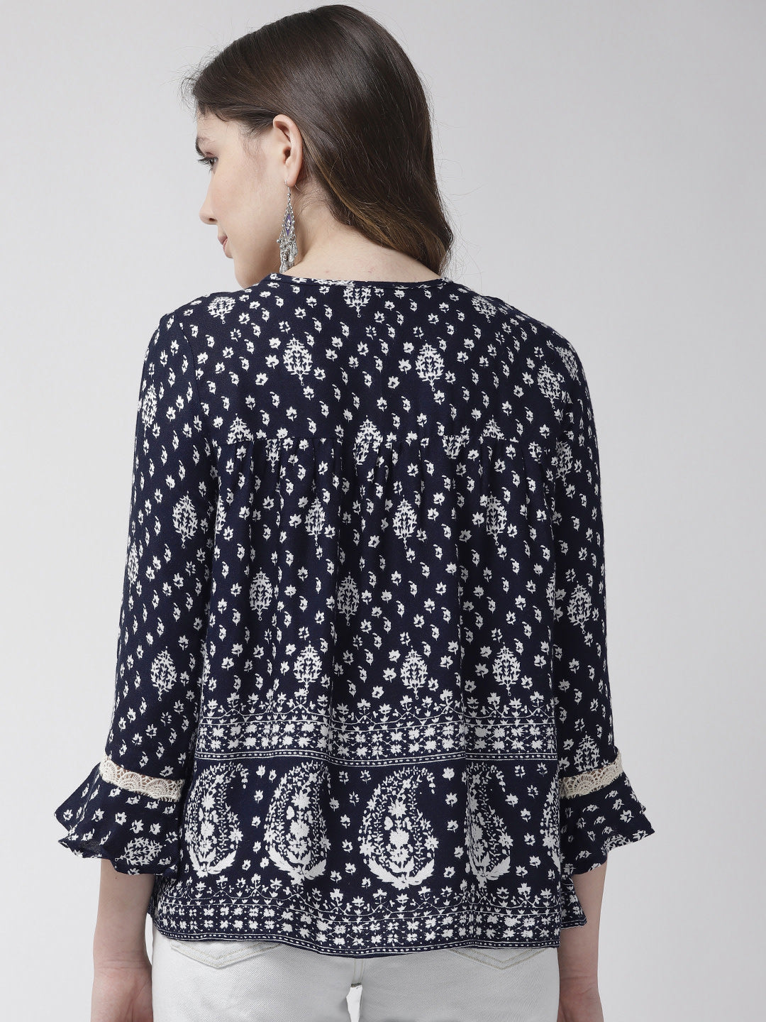 Women Navy Blue & White Printed Top