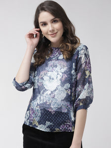 Women Blue & White Floral Print Sheer Top