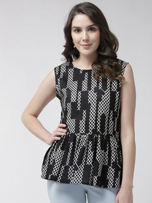 Women Black & White Printed A-Line Top