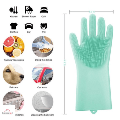 Silicon Washing Gloves | Time Saving | Easy To Use - homeonly24.com