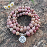 collier mala en pierres naturelle de rhodonite
