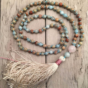 Mala : amazonite, quartz rose et jaspe