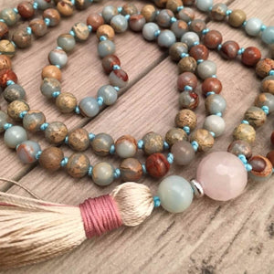 mala en cristaux d'amazonite naturelle, quartz rose et jaspe