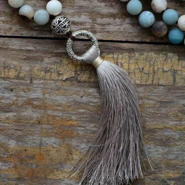 mala tibétain en amazonite naturelle