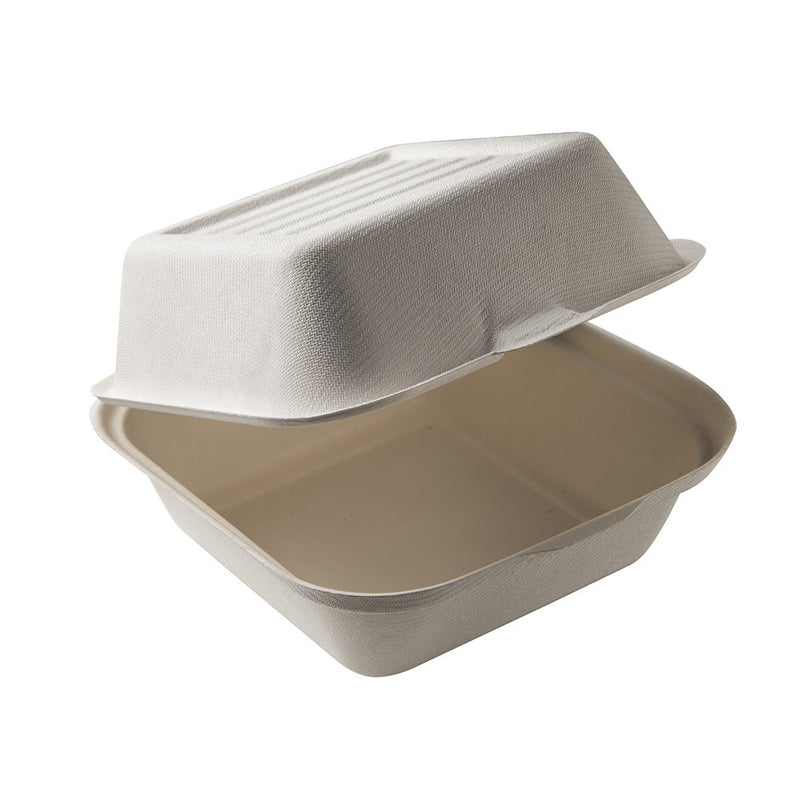 6x6x3 Compostable Fiber/Bagasse Takeout Box (Burger Box)