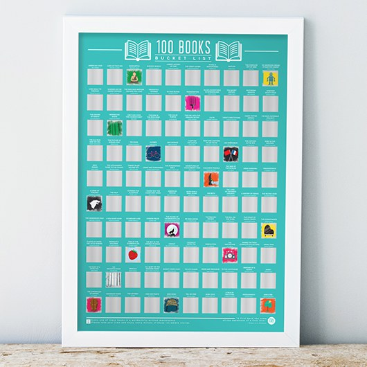 100 Books Bucket List Scratch Poster