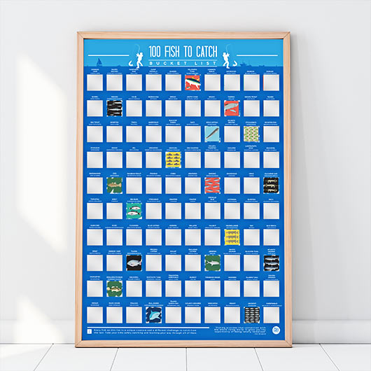 100 Fish To Catch Bucket List Scratch Poster