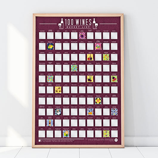 100 Wines Bucket List Scratch Poster