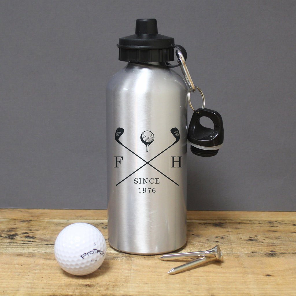 Golf Clubs Silver Drinks Bottle