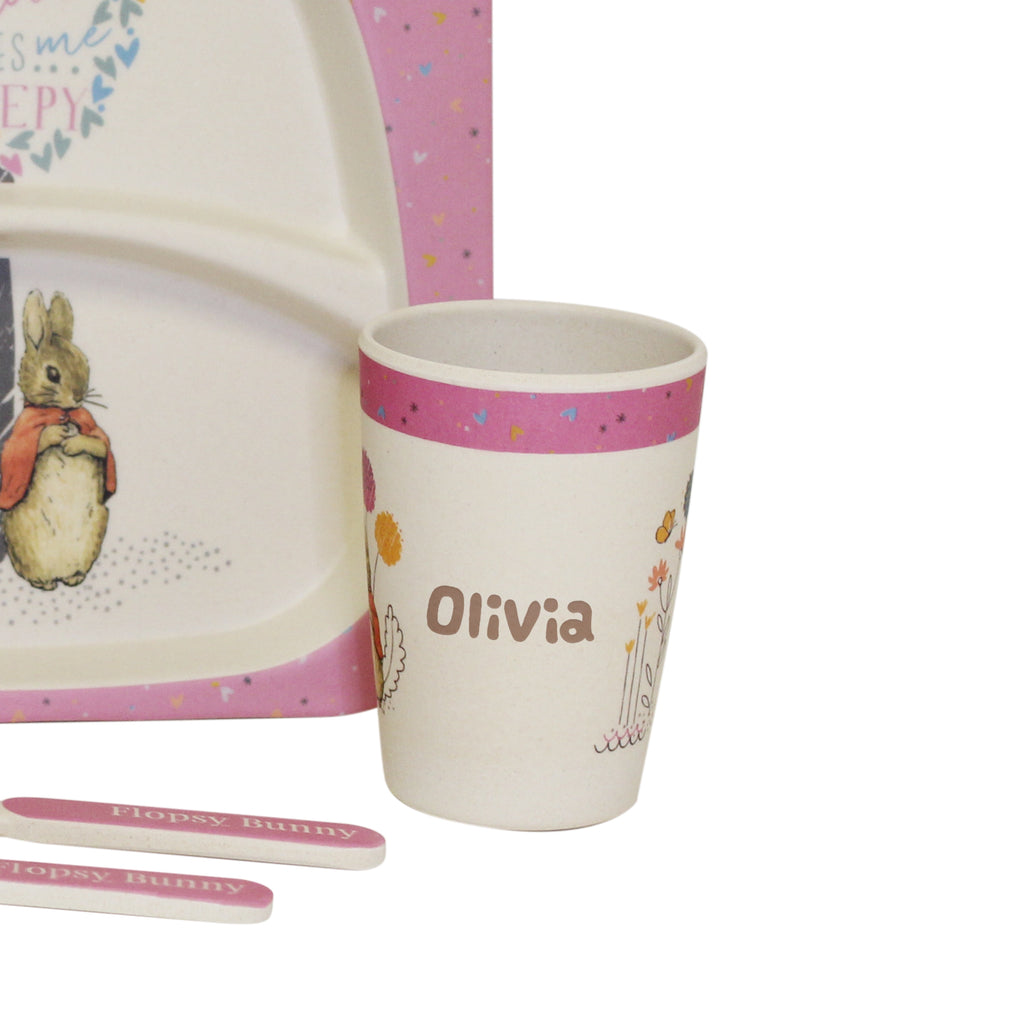 Flopsy Rabbit Dinner Set - Personalised Cup - Oh My Gift