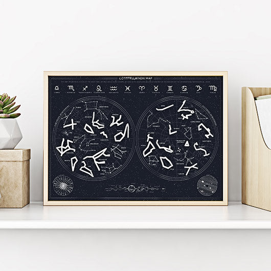Constellation Map Scratch Poster