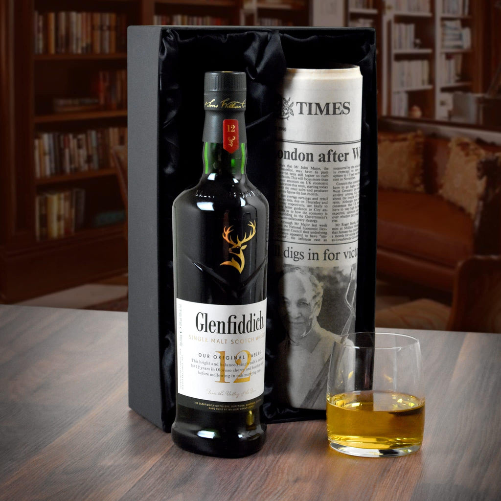 12 Year Old Glenfiddich Whisky & Original Newspaper for chosen date
