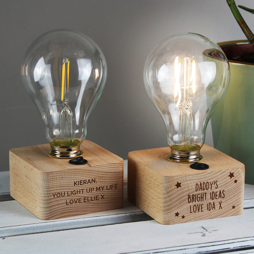 Bulb Table Lamp with Personalised Message