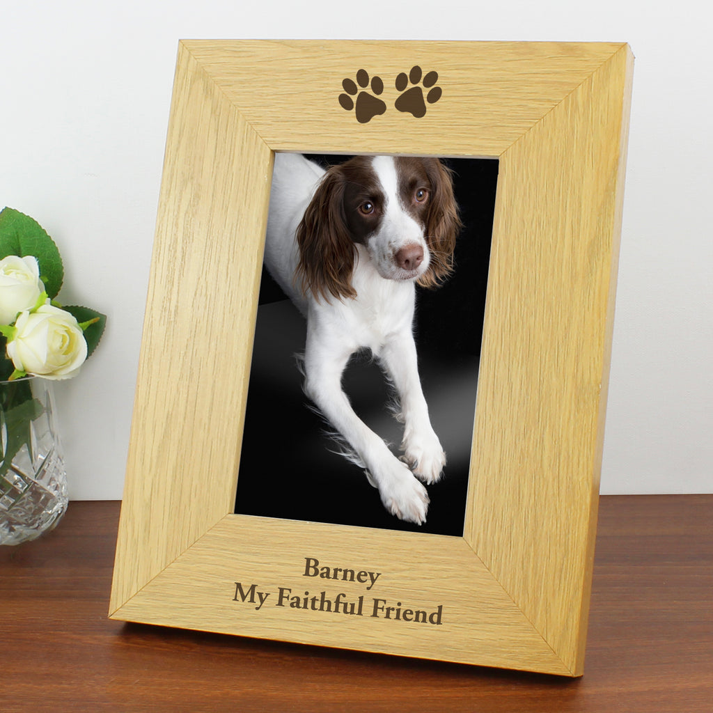 Paw Prints Photo Frame with Personalised Message
