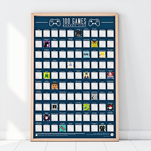 100 Video Games for your Bucket List - Scratch Poster - Perfect Present for Gamers - Oh My Gift