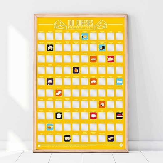 100 Cheeses to Try Bucket List - Scratch Poster - Oh My Gift