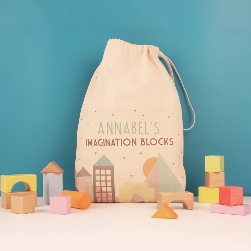 Building Blocks in a Personalised Bag - Great Gift for Children - Oh My Gift