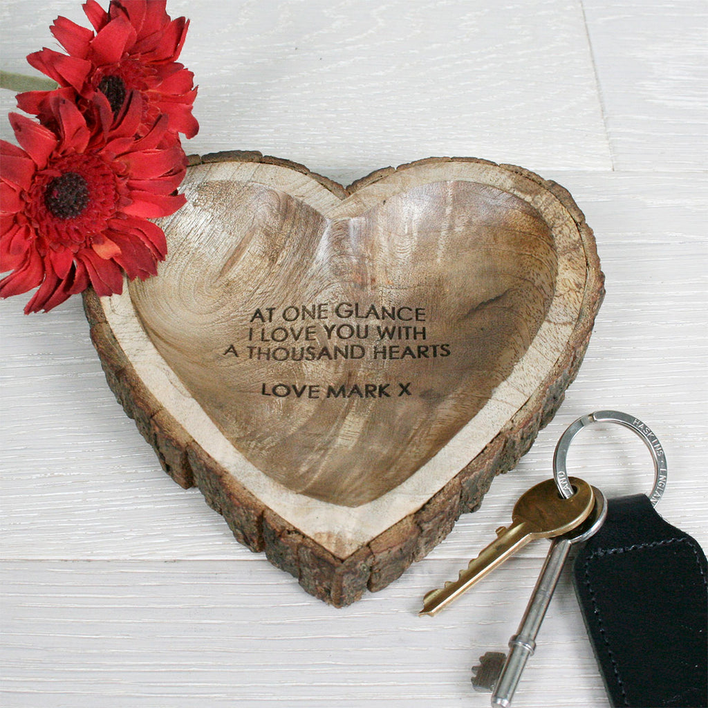Carved Wooden Heart Dish Personalised with Name and Message - Oh My Gift