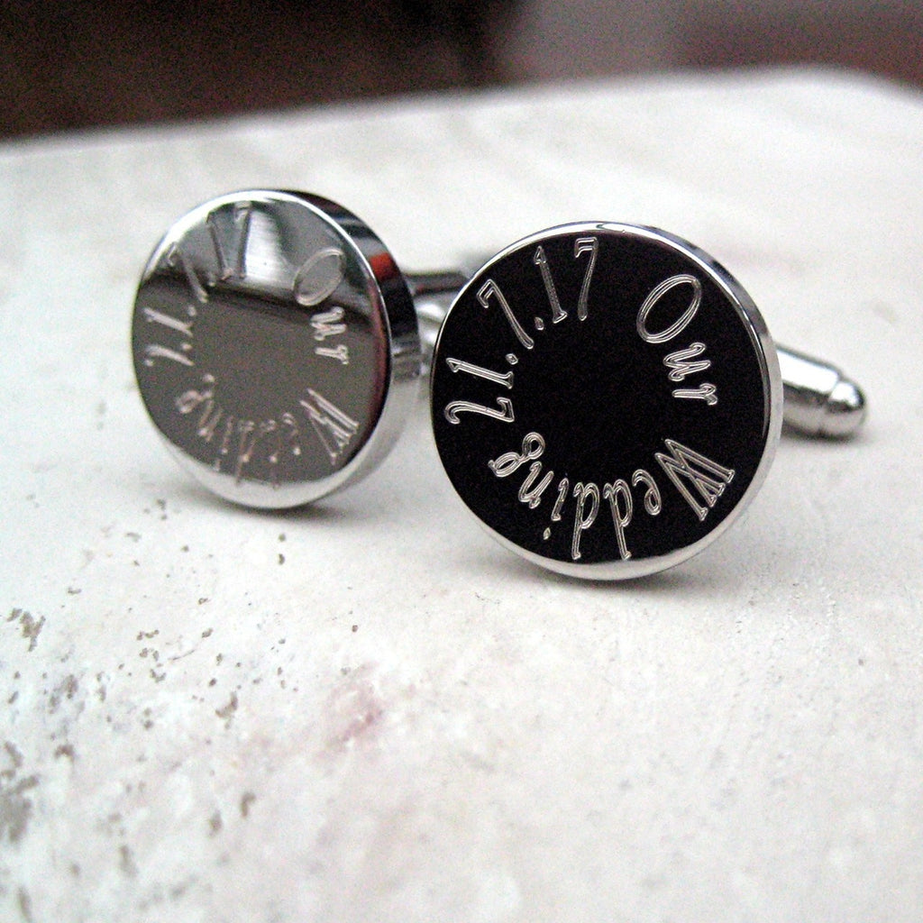 Silver Plate Wedding Round Cufflinks for Your Best Man, Ushers, Groom - Oh My Gift
