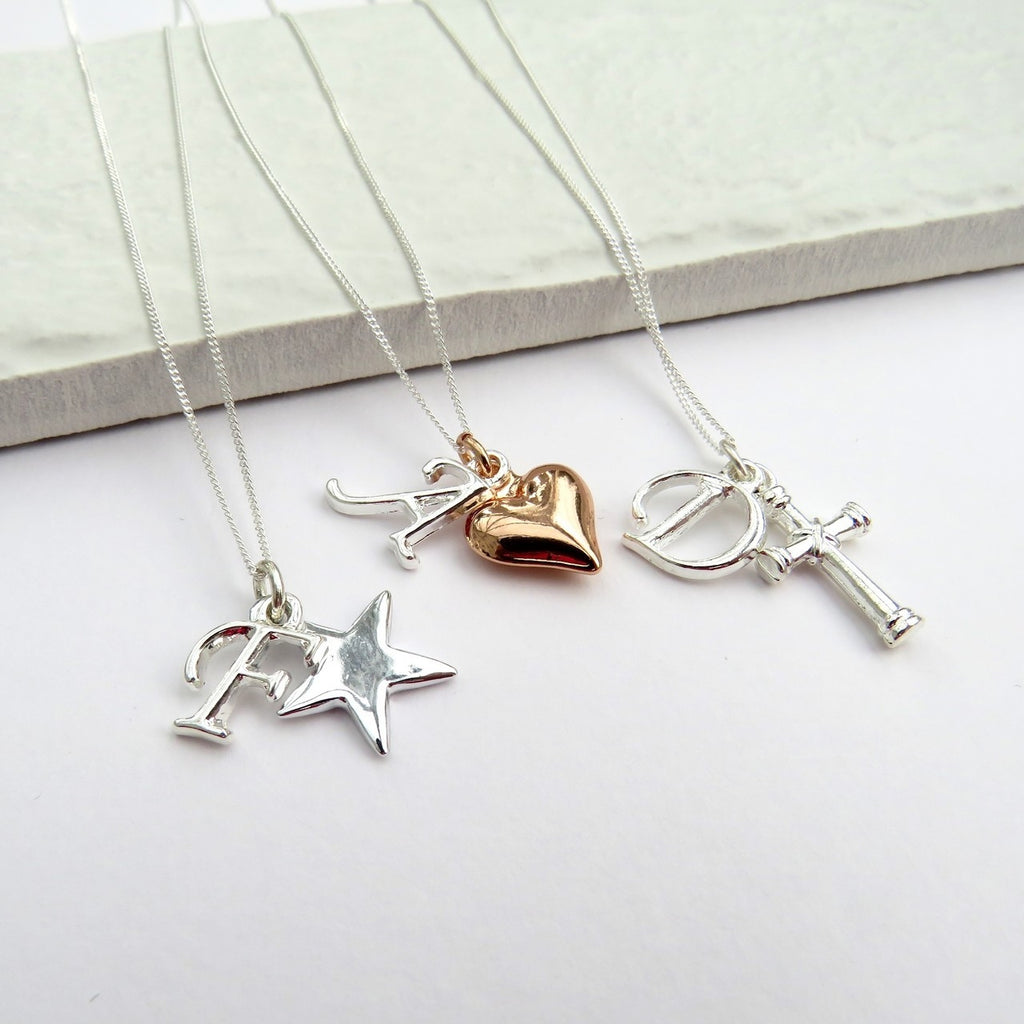 Girls Necklace with Initial and Heart Charm - Oh My Gift