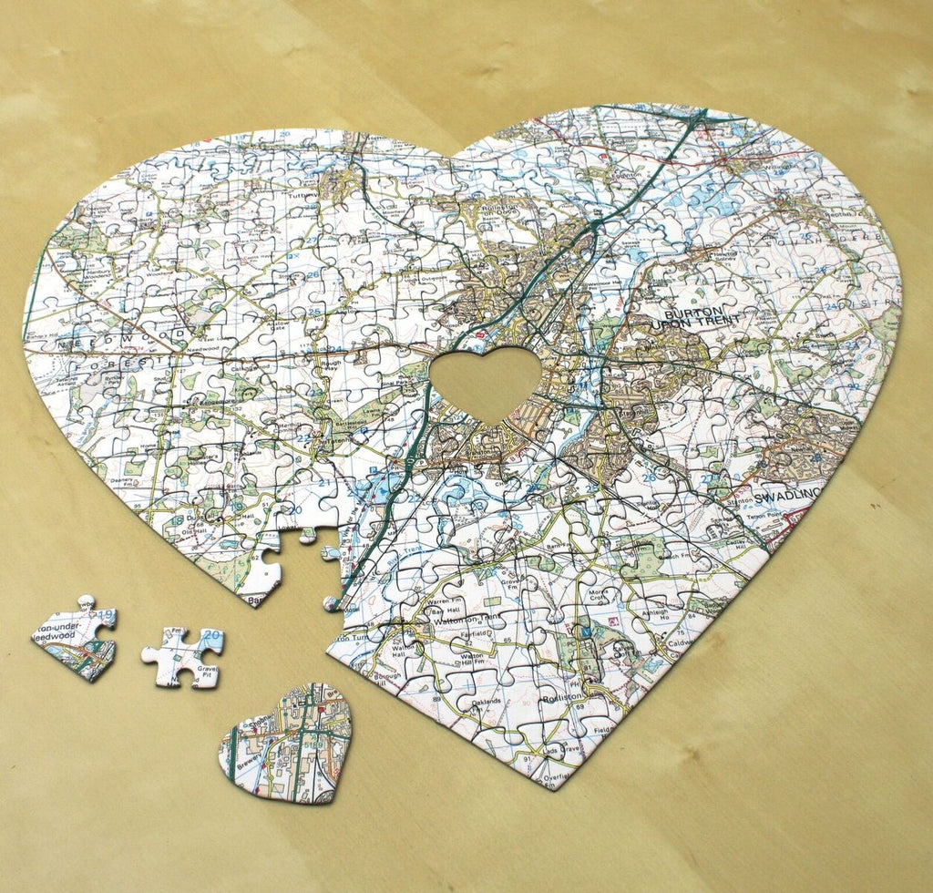 Personalised Heart-Shaped Map Jigsaw Puzzle - Oh My Gift