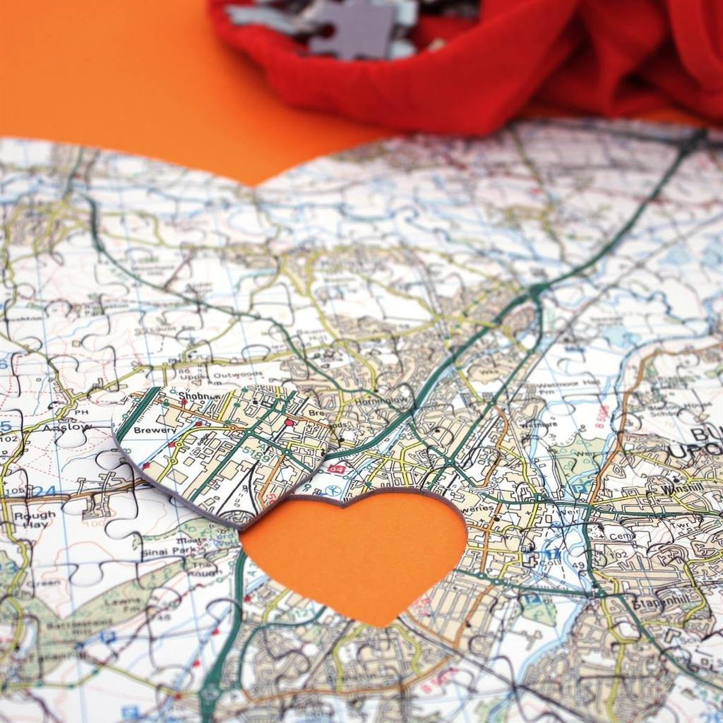 Personalised Heart-Shaped Map Jigsaw Puzzle