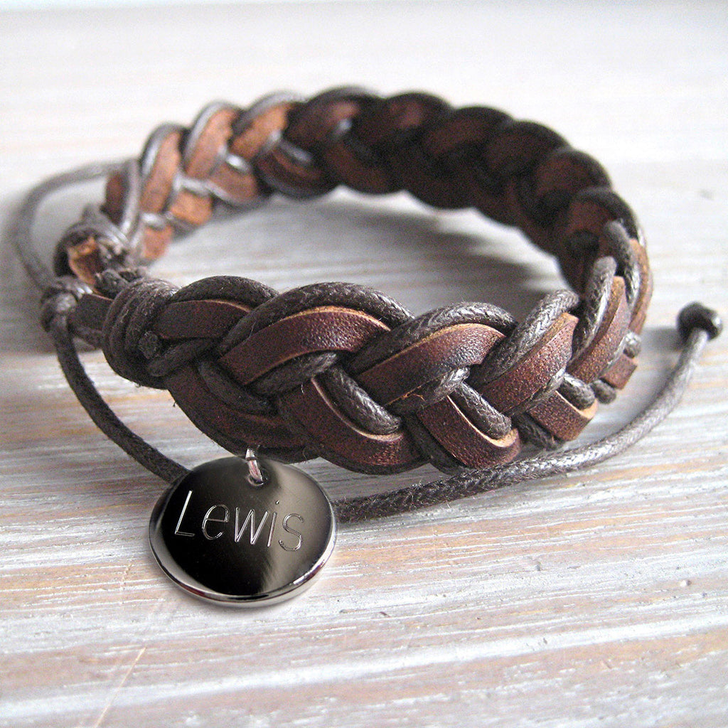 Pleated Leather Bracelet Personalised with Name - Oh My Gift