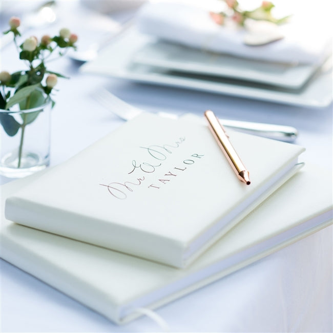 Ivory Mr & Mrs Wedding Guest Book - Oh My Gift