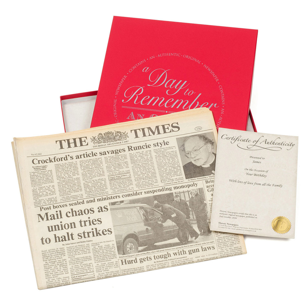 Original Birthday Newspaper - Red Gift Box - Oh My Gift