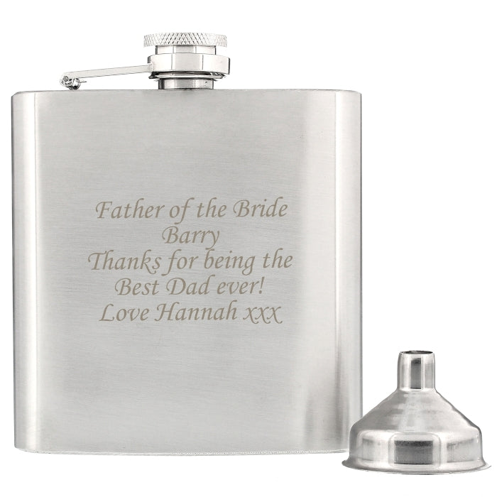 Personalised Father of the Bride Boxed Stainless Steel Hip Flask - Oh My Gift