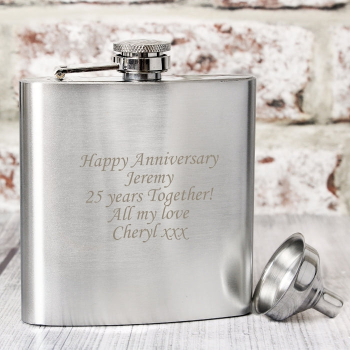 Personalised Wedding Anniversary Boxed Stainless Steel Hip Flask - Oh My Gift