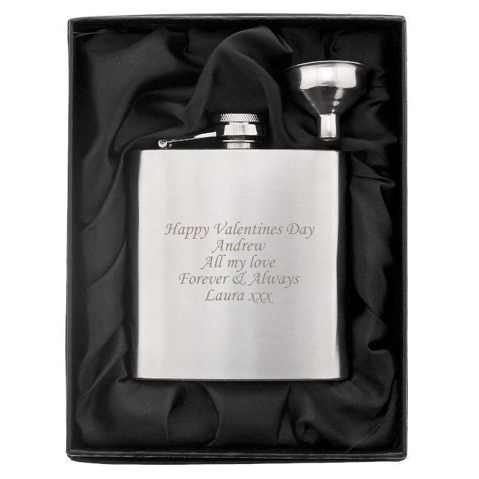 Personalised Valentine's Day Boxed Stainless Steel Hip Flask - Oh My Gift