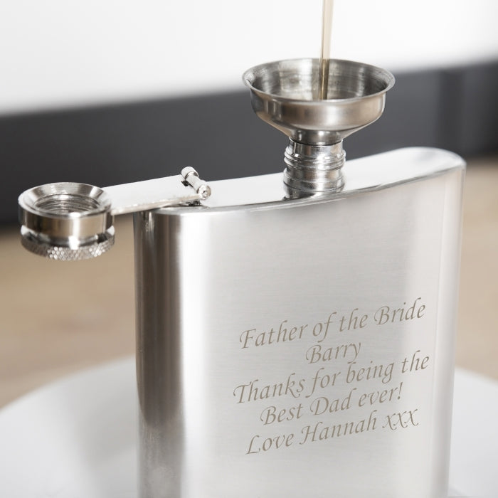 Personalised Boxed Stainless Steel Hip Flask Being Filled Up - Oh My Gift
