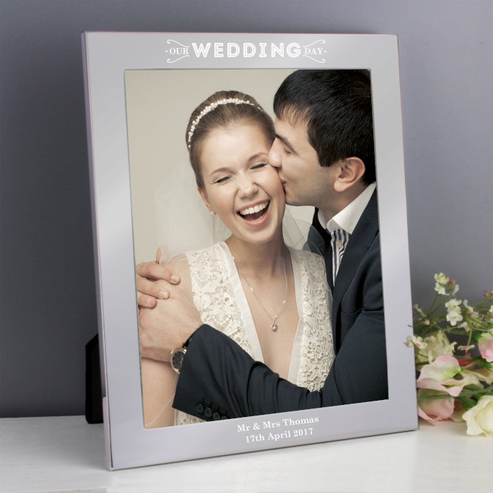 Personalised Our Wedding Day Silver Photo Frame with Bride and Groom - Oh My Gift