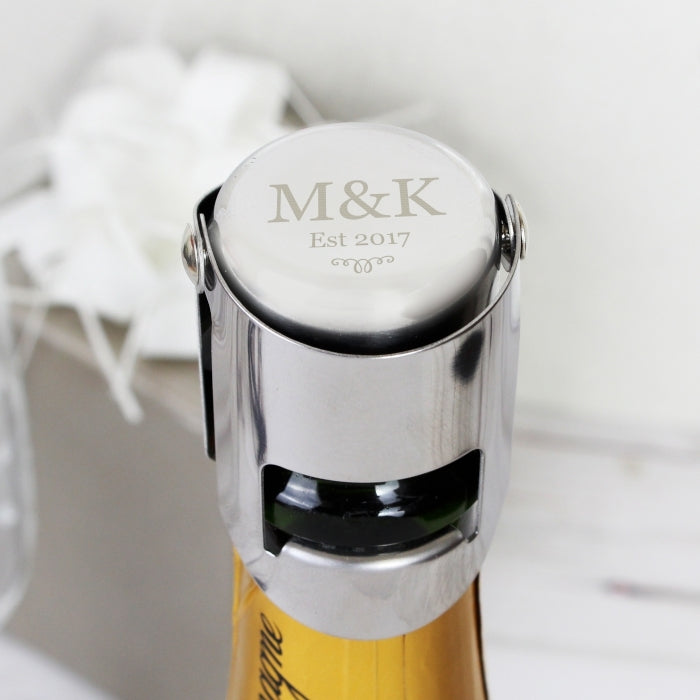Personalised Monogram Bottle Stopper Shown on Bottle Neck - Oh My Gift