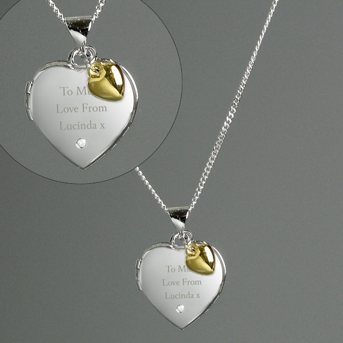 Personalised Sterling Silver, Gold & Diamond Heart Locket Necklace showing close up - Oh My Gift