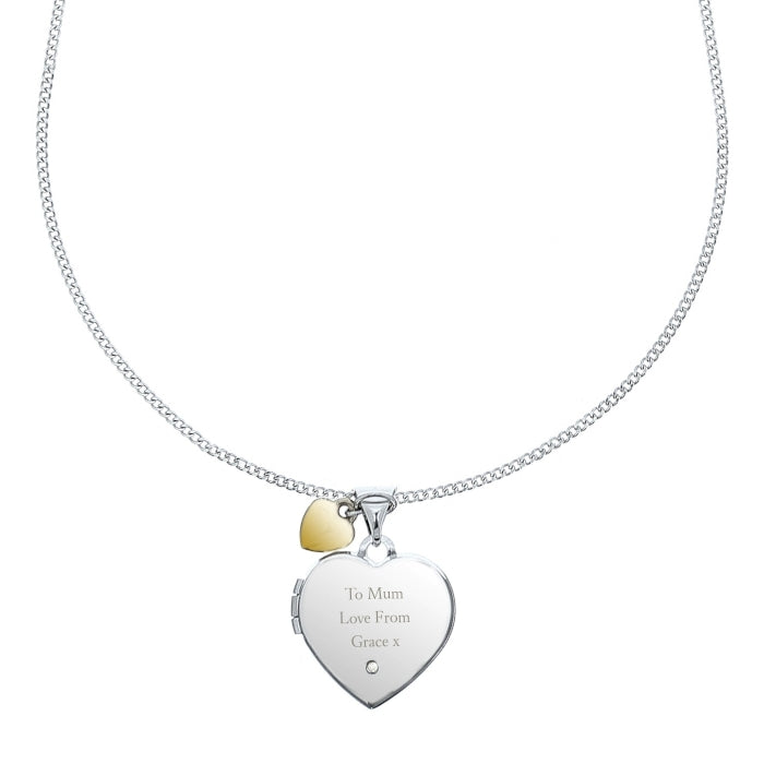 Personalised Sterling Silver, Gold & Diamond Heart Locket Necklace on White Background - Oh My Gift