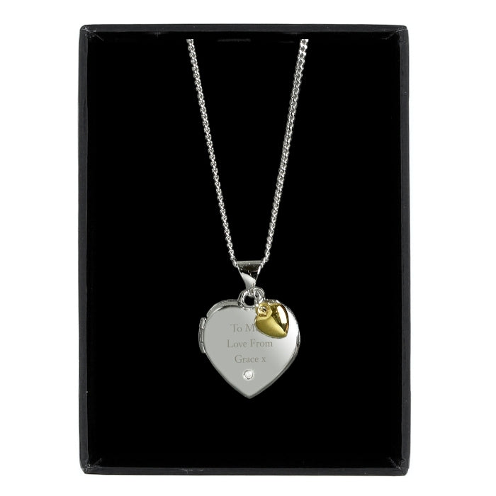 Personalised Sterling Silver, Gold & Diamond Heart Locket Necklace on Black Background - Oh My Gift