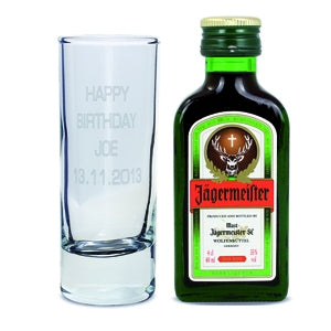 Personalised Shot Glass and Miniature Jagermeister - Oh My Gift