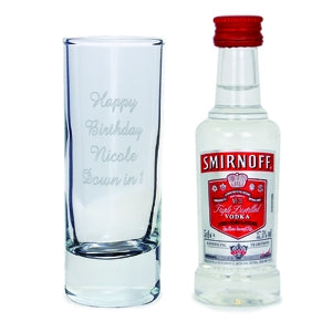 Personalised Shot Glass and Miniature Vodka Set - Oh My Gift