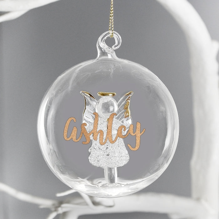 Personalised Gold Glitter Name Only Angel Glass Bauble - Oh My Gift