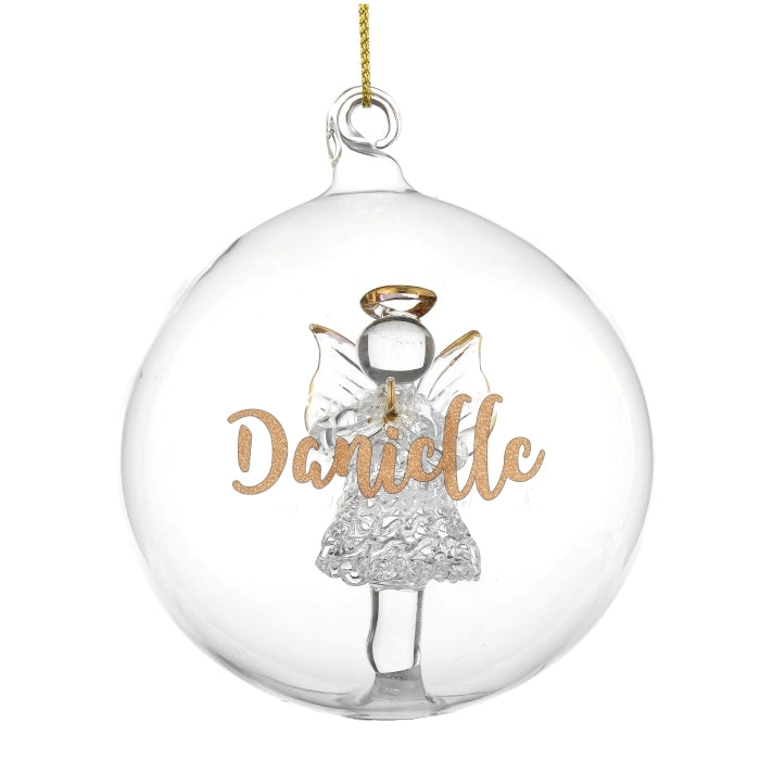 Personalised Gold Glitter Name Only Angel Glass Bauble Danielle - Oh My Gift